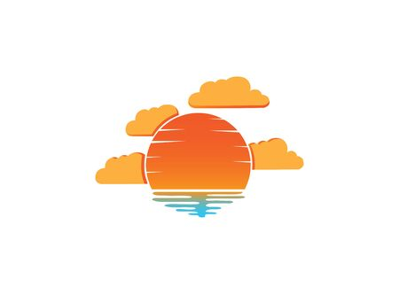 sunset and clouds in the beach for design illustration on white background