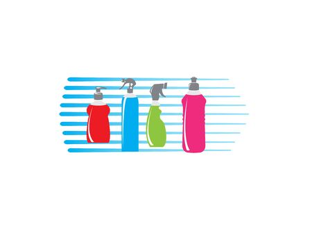 assortment of bottles for cleaning products design illustration on white background Stock Illustratie
