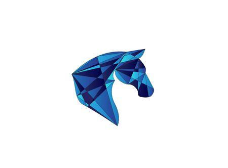 poly head horse for design illustration on white background