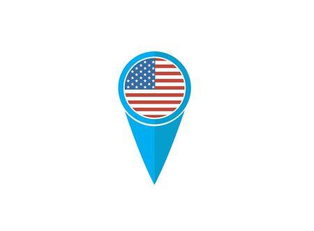 USA pin flag for  design illustration on white background