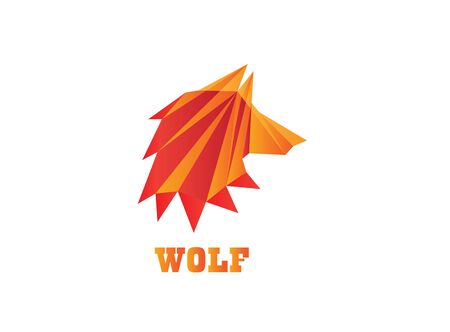poly wolf head polygon for design illustration on white background