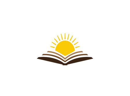 bright sun in an open book for design illustration on white background