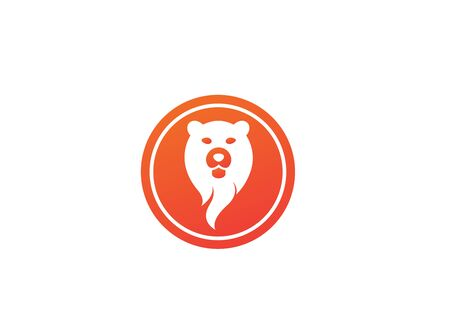 bear head and face for design illustration in the shape on white background