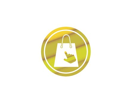 Bag for shop with click hand design illustration, online market icon in a shape on white background