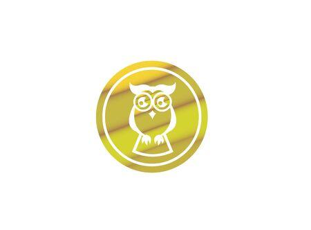 Offene Augen der Eule für Designillustration, kluger Vogel in einer Formikone Vektorgrafik