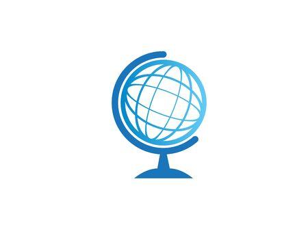 Globe icon logo design illustration on white background