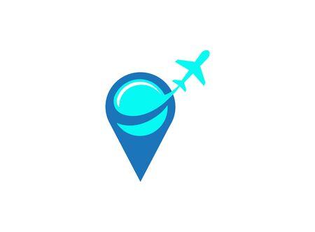 Plane in pin fly logo design illustration on white background