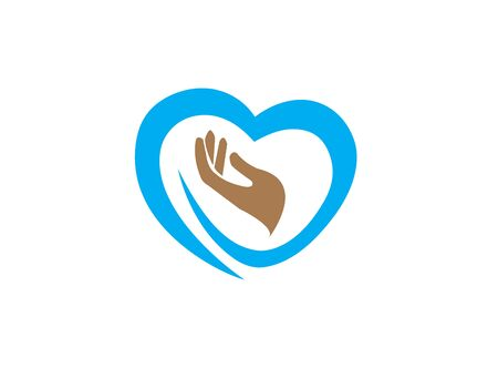 hand and heart caring human health for logo design illustration vector  イラスト・ベクター素材
