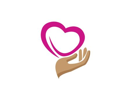 hand and heart caring human health for logo design illustration vector Illustration