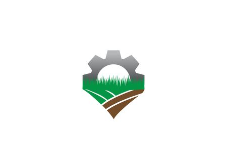 plow the ground gear farming plants for logo illustration design