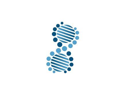 Diseño de sangre de círculos de ADN para ilustración de logotipo