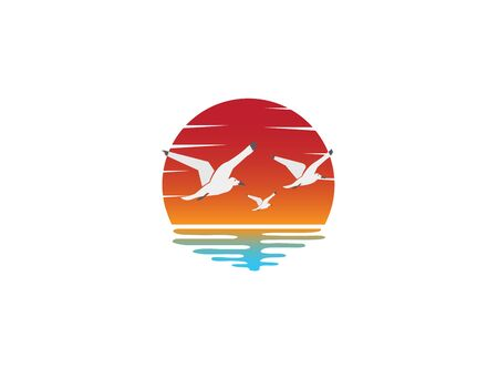 sunset and seagulls on the beach for logo design illustration