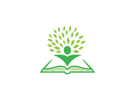book and leaves with body logo design illustration Stock Illustratie
