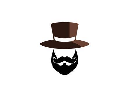 Bart und Schnurrbart mit Hut auf dem Kopf für Logo-Design-Illustration auf weißem Hintergrund