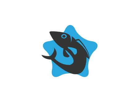 Fish icon in star shape for logo design illustration on a white background 矢量图像