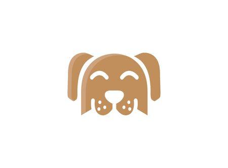 Cute dog for logo design illustration, smile face icon, head pet symbol on white background