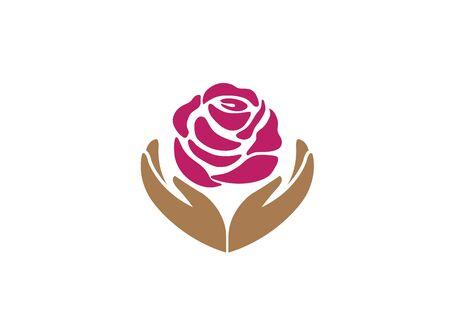 Hands holding rose for logo design illustration on white background