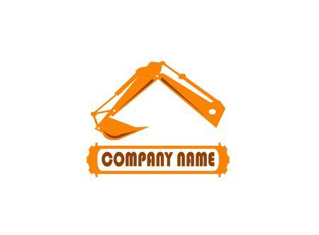 pelle à bras d'excavatrice pour illustration de conception de logo sur fond blanc