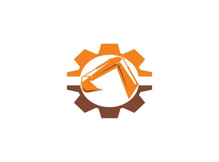 pelle à bras d'excavatrice en forme de pignon pour l'illustration de la conception de logo