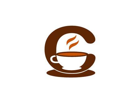 alphabet mug of Cofé warm coffee logo design illustration on a white background  イラスト・ベクター素材