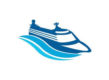 Schiffs- und Wellenvektorsegelnlogo-Designillustration auf weißem Hintergrund