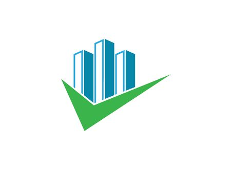 Big skyscrapers with a check mark for logo design illustration on white background Иллюстрация