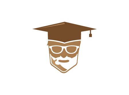 Graduation hat and teacher head a face smile with glasses for logo illustration on white background