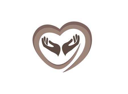 hands and heart caring human health for logo design illustration vector on white background