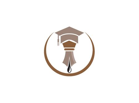 graduation hat and nib logo design illustration on white background