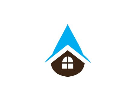 House repair  icon inside a drop of water for the home repair sanitary, logo design on white background Illustration