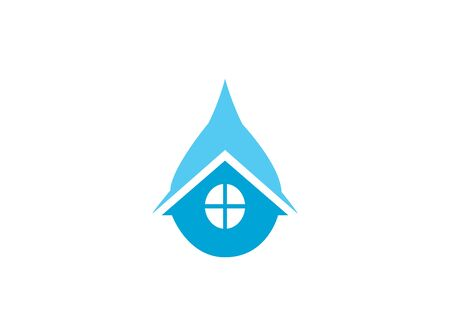 Home plumber icon inside a drop of water for the house repair sanitary, logo design on white background Illustration