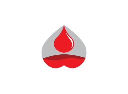 Filling up the heart with a drop of blood logo design illustration on white background