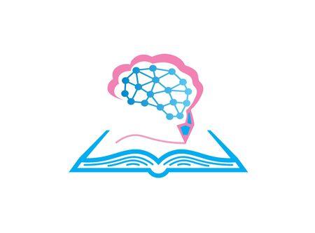 Book and brain with pen write logo design illustration on white background Çizim