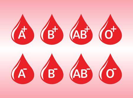 all blood categories in a drop for logo design illustration