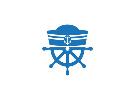 Sailor hat and ship wheel for logo design illustration on a white background Logo