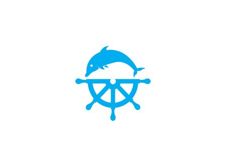 Dolphine icon and ship wheel for logo design illustration on a white background Ilustração