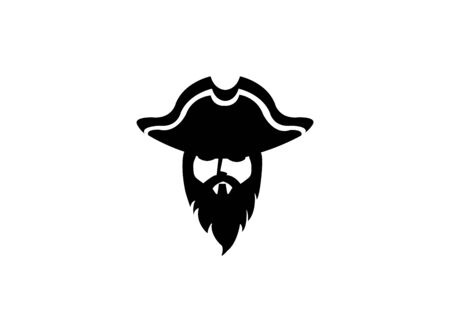 Pirate head with beard and hat for logo design illustration on a white background