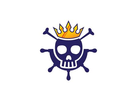 Head skull inside a ship wheel icon with a crown for a pirate king logo design illustration on a white background
