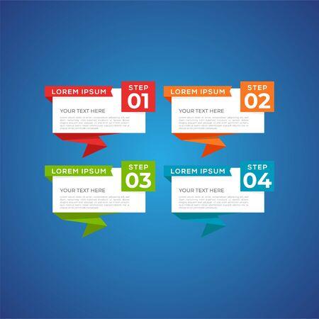 Modèle de conception infographique d'entreprise moderne et créatif avec quatre éléments et formes. Peut être utilisé pour le processus, la présentation, l'interface, l'éducation, le diagramme, la mise en page du flux de travail, le graphique d'informations, la conception Web.