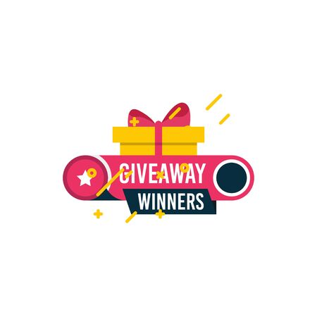 Giveaway winners template design for social media post, surprise package, subscribers reward. Gift box vector for advertising of giving present, like or repost isolated icon with modern flat style. Vectores