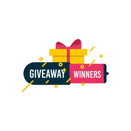 Giveaway winners template design for social media post, surprise package, subscribers reward. Gift box vector for advertising of giving present, like or repost isolated icon with modern flat style. Ilustración de vector