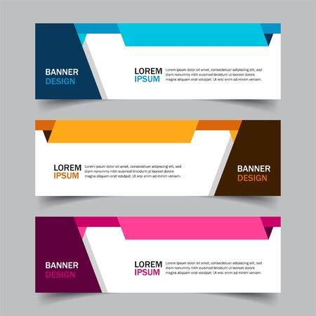 Set of 3 web banner campaign template with different color variants and settings in one template. Modern abstract design for advertising. Very easy to use for company or business. Isolated on grey.