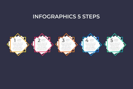 Modern and creative timeline infographic with five steps design vector. Can be used for process, annual report, presentation, interface, education, diagram, workflow layout, info graph, web design.
