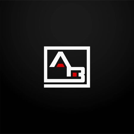 Anfangsbuchstabe AB verbundenes quadratisches Logo in weißer und roter Farbe. Corporate Identity Design-Vorlagenelement. Industrie, Finanzen, Banklogo. Quadratische Gruppe, Technologieinteraktion, Netzwerkintegrationskonzept. Logo