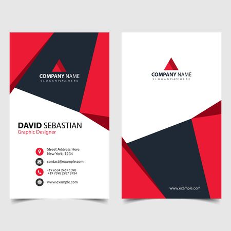 Red shape id, corporate and visit card. Elegant name card templates. Modern creative business card with abstract shapes. Vertical simple clean vector design, layout in rectangle size. eps 10.