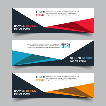 Corporate business banner template in blue, red and yellow color. Set of horizontal advertising business banner layout template flat design. Modern abstract cover header background for website design.