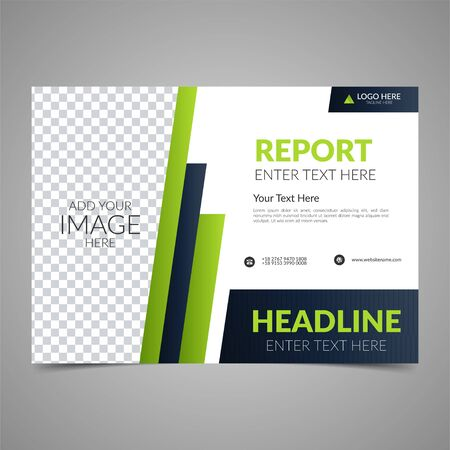 Elegant green business brochure design. Business flyer design layout template. Can be use for annual report, poster or cover. Modern publication poster magazine. Flat style vector illustration.