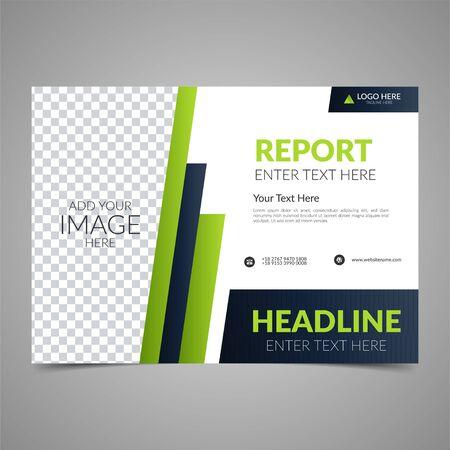 Conception de brochure d'entreprise verte élégante. Modèle de mise en page de conception de flyer d'entreprise. Peut être utilisé pour un rapport annuel, une affiche ou une couverture. Magazine d'affiches de publication moderne. Illustration vectorielle de style plat.