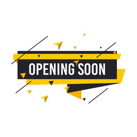 Opening soon labels banners template. Vector sign illustration isolated on white background. Layout for sale, advertising, banner, poster, online shopping, product, promotion announce tag, sticker.