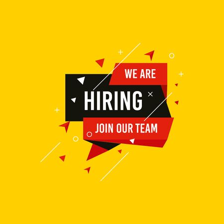 We are Hiring, Join now design for banner poster. Lettering with geometric shapes lines. Job Vacancy Advertisement Concept on yellow background. Open vacancy design template with modern concept.